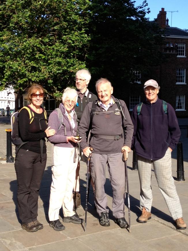 Tom and Jane Benyon of ZANE preparing to leave York on their 2012 fundraising walk to Canterbury