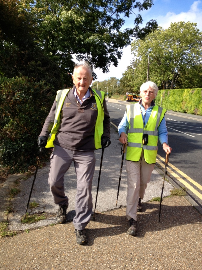 Tom Benyon OBE and his wife Jane on the last day of their walk from York to Canterbury