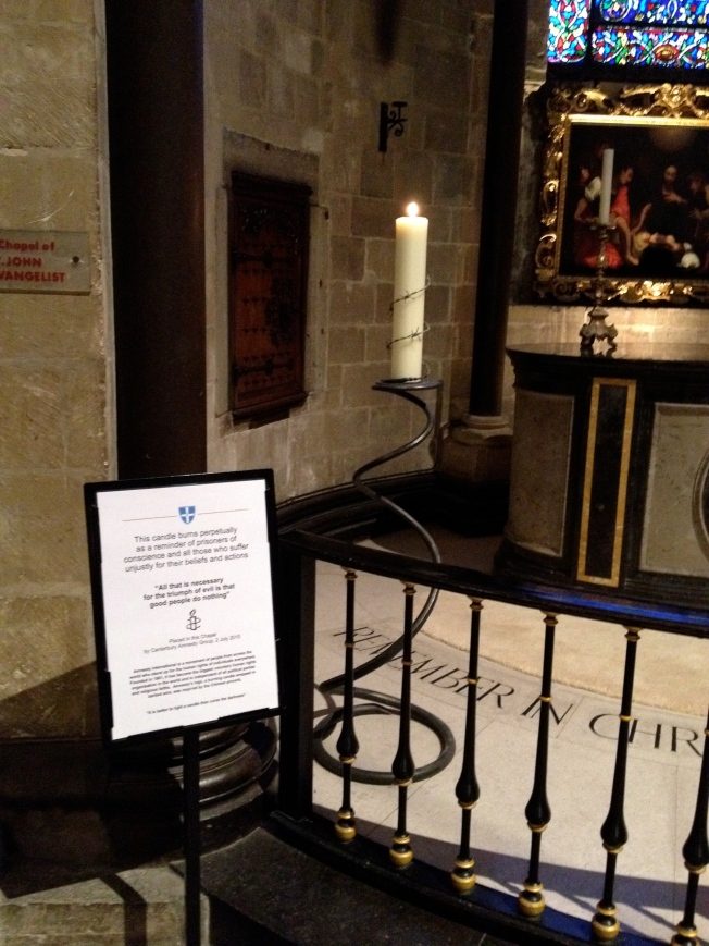 Prisoners' candle in Canterbury Cathedral
