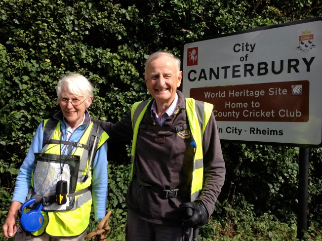 Tom Benyon OBE and his wife Jane arrive in Canterbury at the end of the ZANE walk