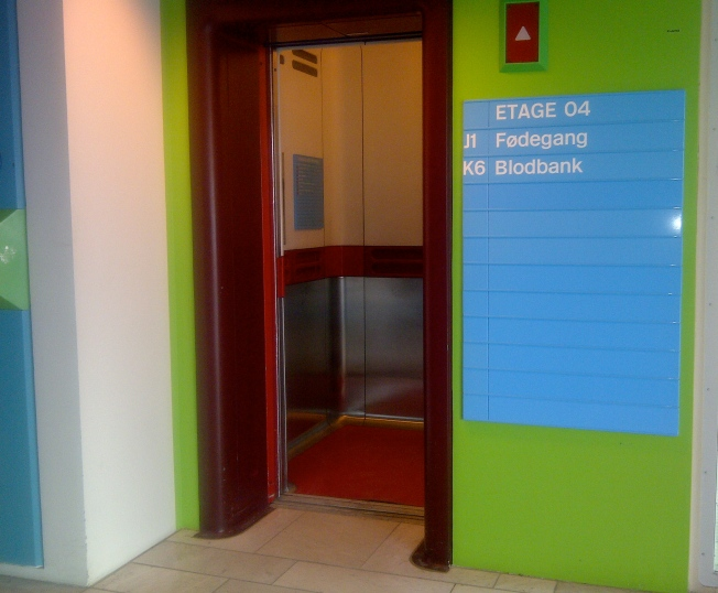 The lift in Herlev Hospital in Denmark