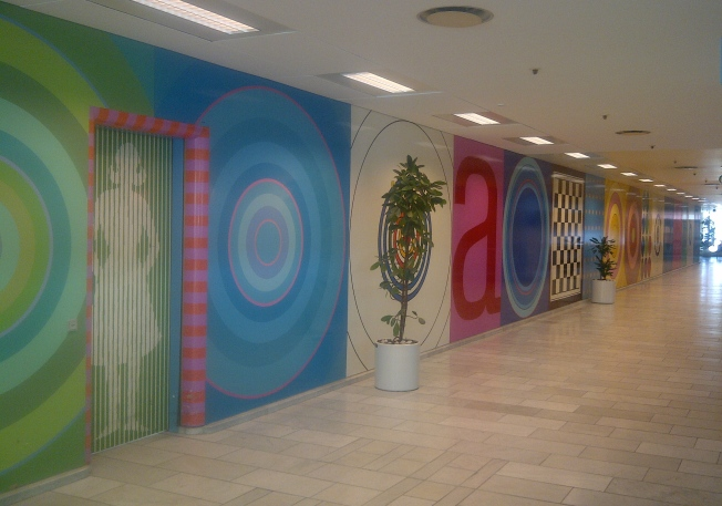 Part of the entrance foyer at Herlev Hospital, in Denmark