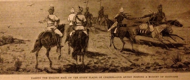 Posting dispatches - Afghanistan (illustration from The Graphic of March 1879)