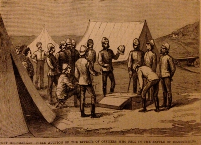 Auctioneering belongings of those killed at Islandwana (illustration from The Graphic of 1879)