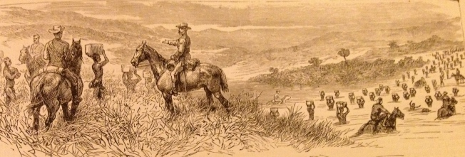 Crossing the Buffalo River (illustration from The Graphic 1879)