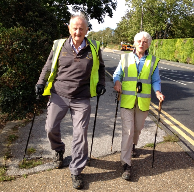 Tom Benyon OBE and his wife Jane on the last day of their walk from York to Canterbury 2012
