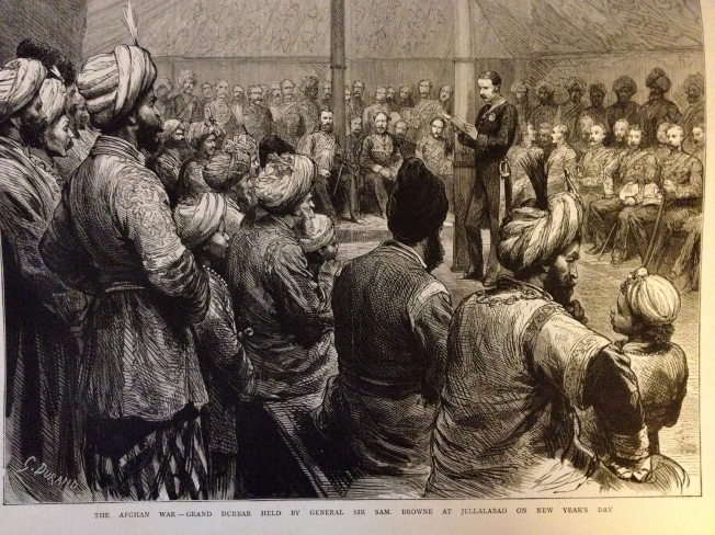 Grand Durbar held by General Sir Sam Browne on New Year's Day in Jellalabad.