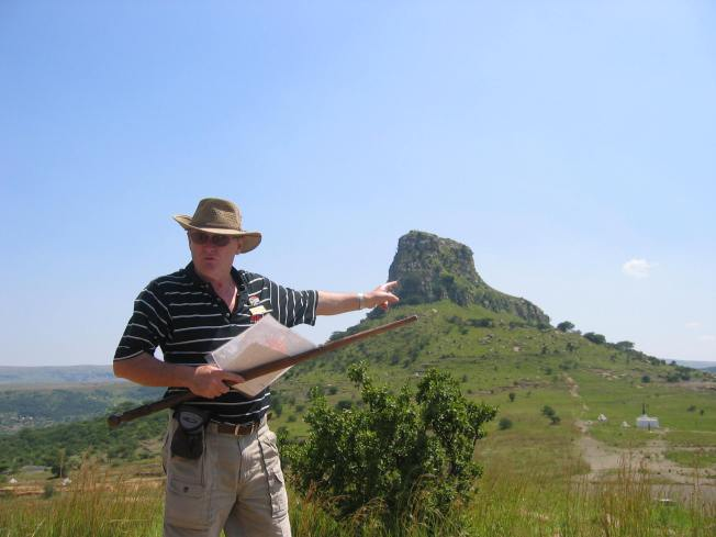 Ken Gillings in full swing at Isandlwana