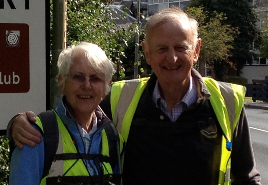 Tom Benyon OBE and his wife Jane, fellow fundraising walker for ZANE