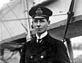 WWI: Portrait of Flight Sub-Lieutenant R.A.J. Warneford VC. Photo taken 17 February 1915.