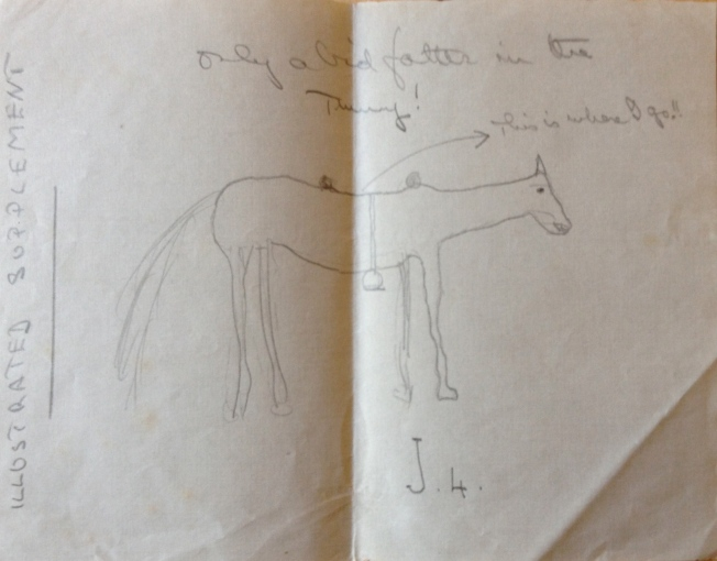 Lancelot Wise's drawing of his horse Joseph IV (July 1915) - on the Western Front