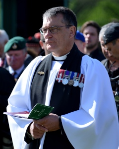 Rev Alan Steele MBE officiating at the D-Day services at Pegasus Bridge for this year's 70th anniversary