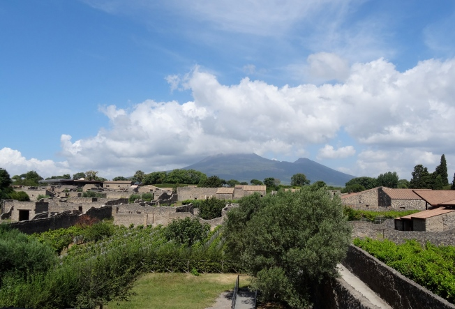 View towards Vesuvius from above the Garden of the Fugitives were the casts were displayed behind glass