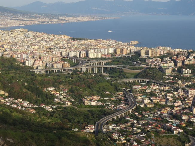 The 'tangenziale' winding its way through the hills towards Naples