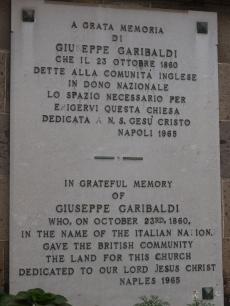 The plaque commemorating Garibaldi's gift to the British