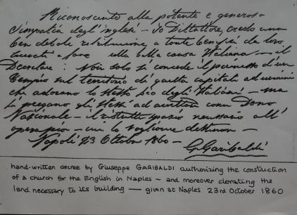 Garibaldi's handwritten note confirming his gift to the British