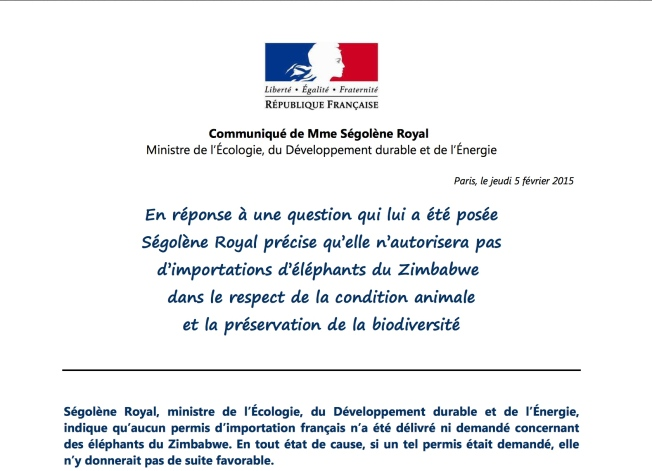 Screen shot of statement from Ségolène Royal