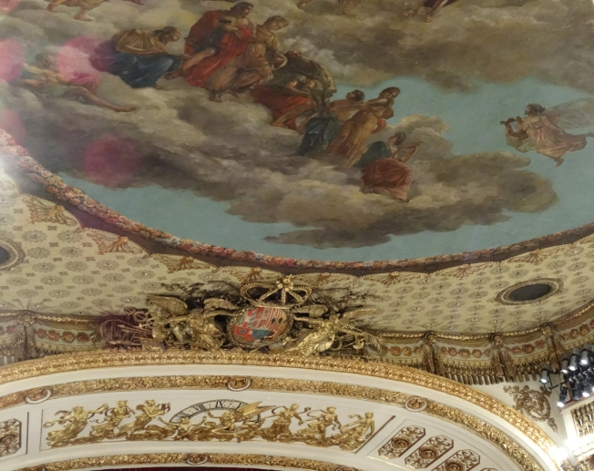 The painted ceiling of the Teatro di San Carlo, Naples, Italy