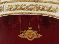 The top of the stage curtain at the Teatro di San Carlo