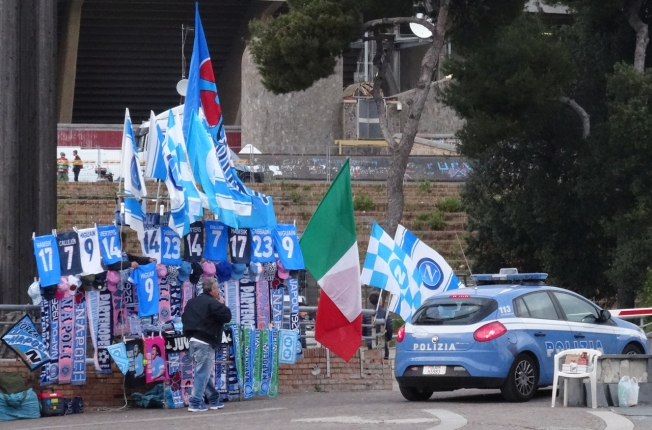 Outside the Stadio San Paolo in Naples