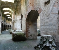 Chambers below ground in the Anfiteatro Flavio in Pozzuoli
