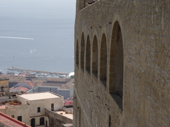 A view down to the neighbours, Castel Sant'Elmo Naples, Italy