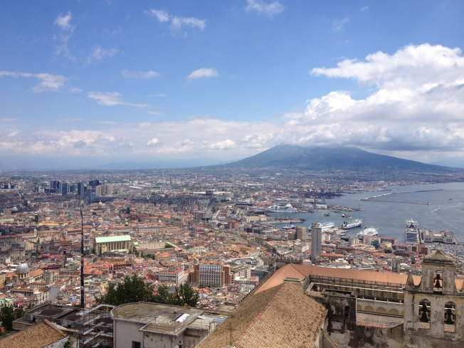 Views to Vesuvius with the straight Spaccanapoli cutting through on the left