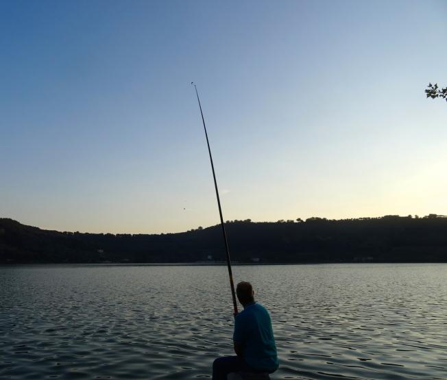 Evening fishing on Lago d'Averno