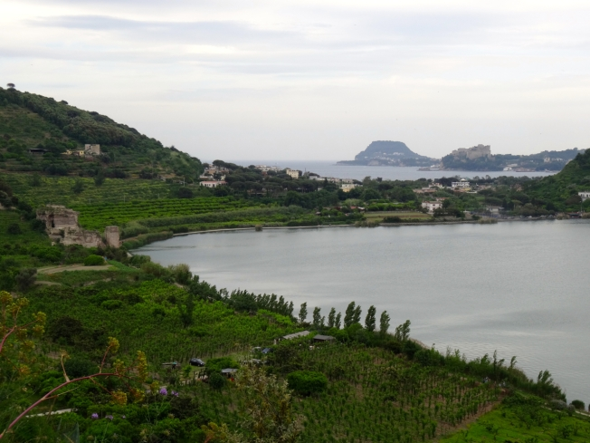 View of Lago d'Averno, past Baia to Capo Miseno