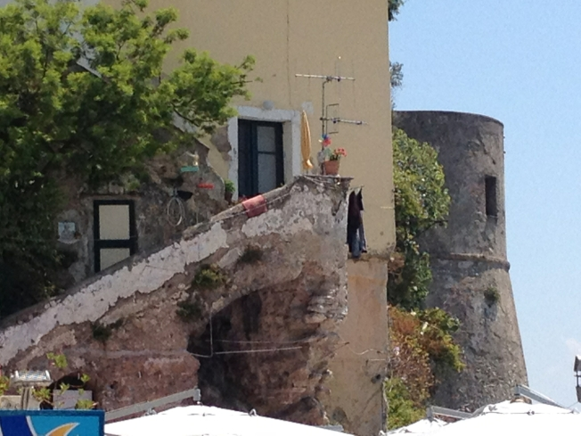 The old tower that guards the harbour at Cetara