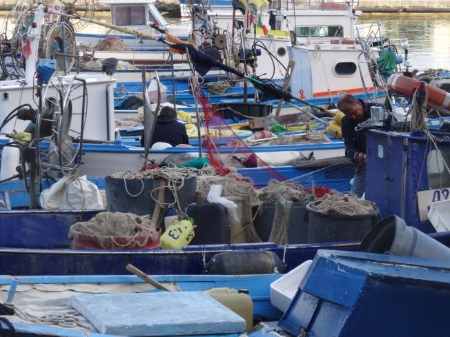 Fishermen in Cetara on the Amalfi Coast in Italy