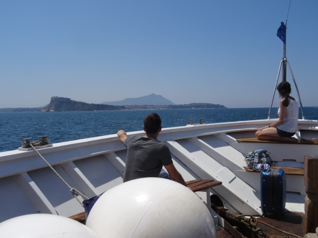 Ferry to Ischia with Procida in the foreground