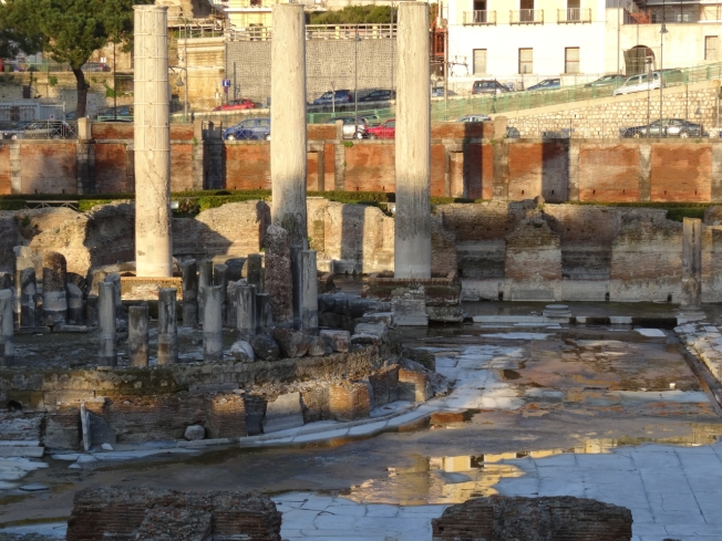 'The Temple of Serapis' now known to be a Roman market place in Pozzuoli. The watermarks on the three tall pillars show the effects of bradyseism over the centuries