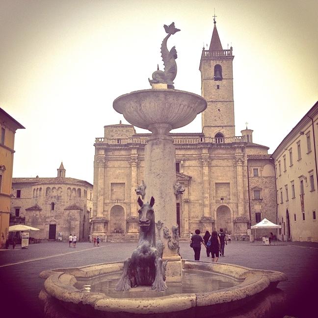 Fountain by Giovanni Jecini, with sculptures by Giorgio Paci, 1882, in Piazza Arringo, Ascoli Piceno