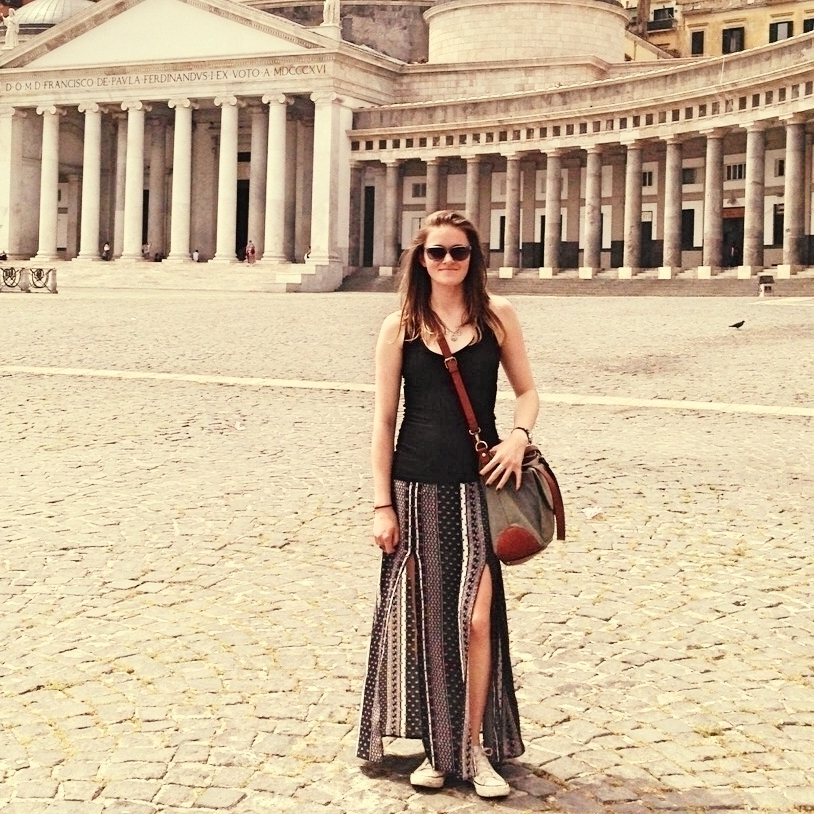 Photograph by Elizabeth Ahlefeldt:Eliza in the Piazza del Plebiscito in Naples, Italy