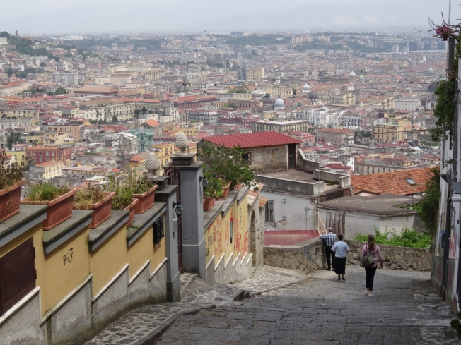 Walking one of the old stairways in Naples, the Pedamentina di San Martino, that leads down to the historic centre of the city from just below Castel Sant'Elmo