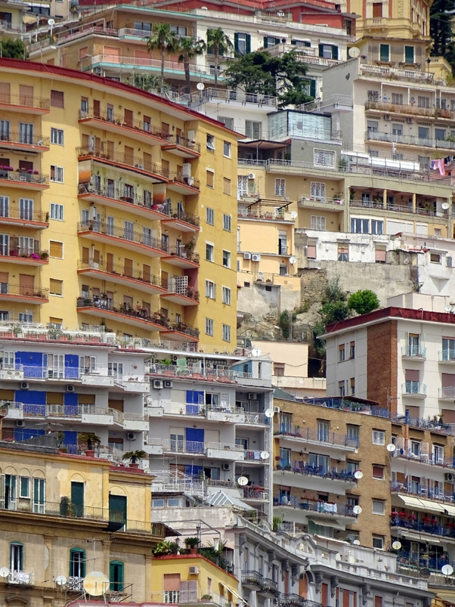 Photograph by Eliza Fraser-Mackenzie of the 'patchwork of colourful houses' Naples, Italy