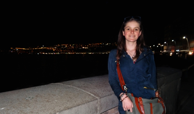 Eliza on the Lungomare in Naples, Italy