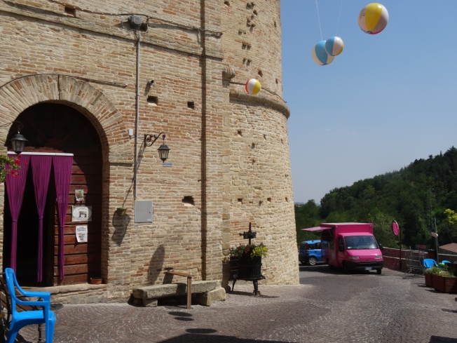 Festa preparations block the main entrance to Montelparo, Le Marche