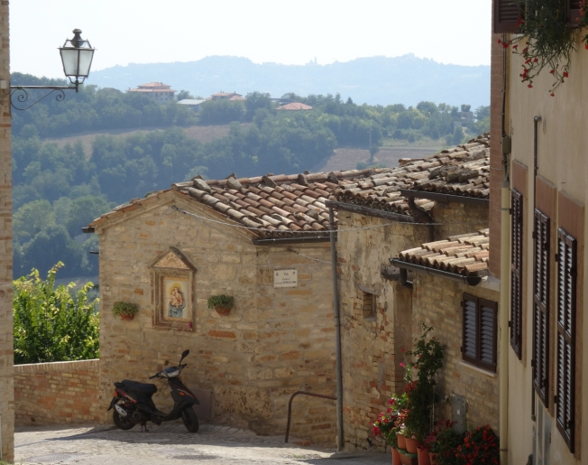 View around a corner in Montelparo, Le Marche, Italy