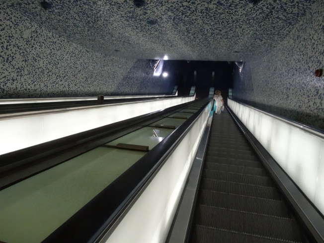 The 'into the blue' escalators of the Toledo metro in Naples