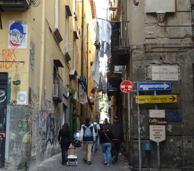 Street view in the old centre of Naples