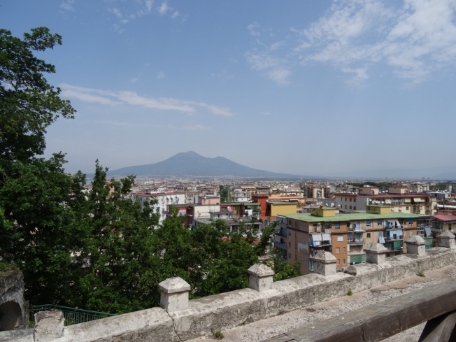 View from the terrace of Villa Arianna towards Vesuvius