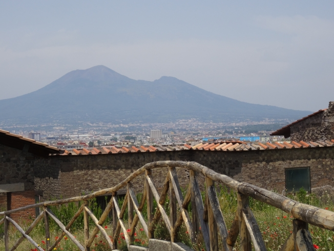Looking over the top of the Villa Arianna in Stabiae towards Vesuvius
