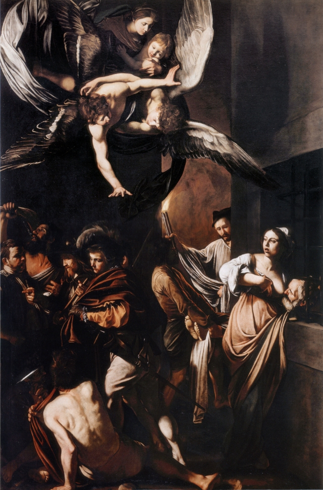 Caravaggio: Sette Opere di Misericordia which now hangs in the church belonging to the charity Pio Monte de la Misericordia near the Duomo in Naples, Italy