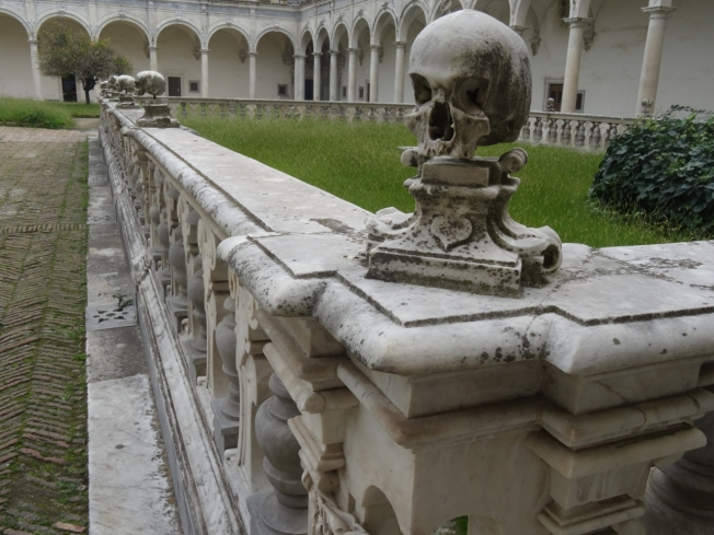 The burial ground in the cloisters in the Certosa di San Martino in Naples, Italy