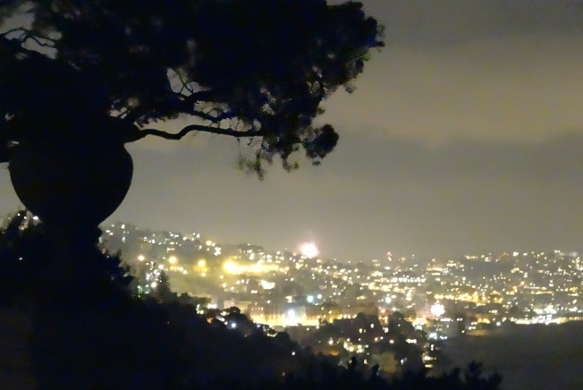 Fireworks around the Bay of Naples seen from Posillipo