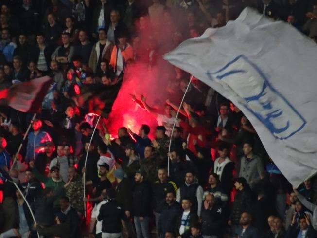 Football in the San Paolo Stadium, Naples, Italy