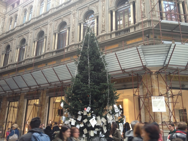 The 'Tree of Wishes' in the Galleria Umberto I in Naples, Italy