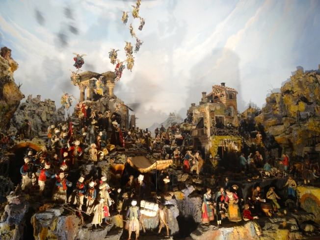 The huge presepe (crib scene) on display in the Certosa di San Martino in Naples, Italy.